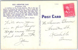 1940s New Orleans, Louisiana Postcard OLD ABSINTHE BAR Interior View KROPP Linen