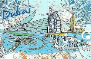 Fine Art Quality Postcard, Dubai, UAE, Landmarks, City, View, Travel 21i