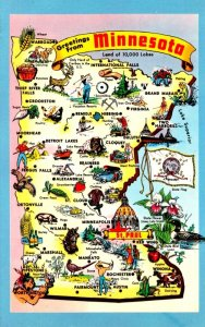 Map Of Minnesota With Greetings From The North Star Or Gopher State