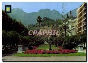 Postcard Moderne Menton The Public Garden and the Agnes Gamte Mountains