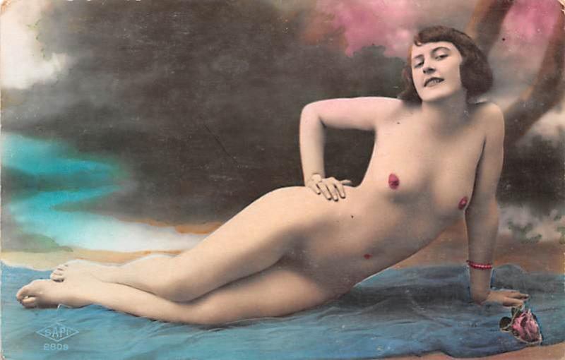 French Tinted Nude Old Vintage Antique Post Card Non Postcard Backing French ...