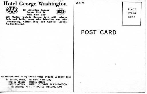 NY -  New York City. Hotel George Washington