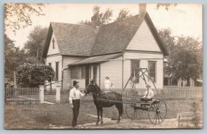 RPPC American Dream~2-Gable House~Picket Fence~Li'l Horse & Buggy Boy~RPPC c1910