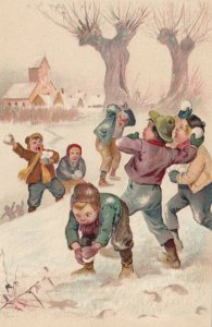 Boys in a snowball fight, 1900-10s, PFB 5456