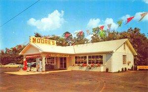Lenoir City TN Moore's Texaco Gas Station Old Cars Postcard.