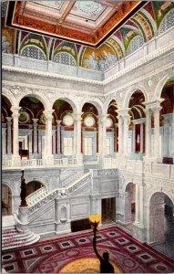Entrance Hall Library of Congress Washington D.C. vtg postcard