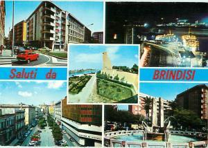 Saluti da brindisi Hotel Night Ship Fountain Street Scene Italy Postcard  # 7379
