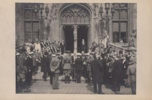 British Army At Bruges Town Hall WW1 Antique Military Postcard
