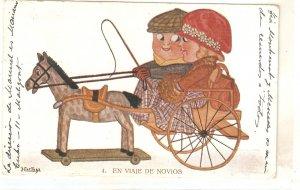 Hertog. Wedding trip. En viaje de Novios. Horse  Curious vintage Spanish PC