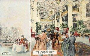 Lobby of Hotel Alexandria, Los Angeles, California, Postcard, Unused