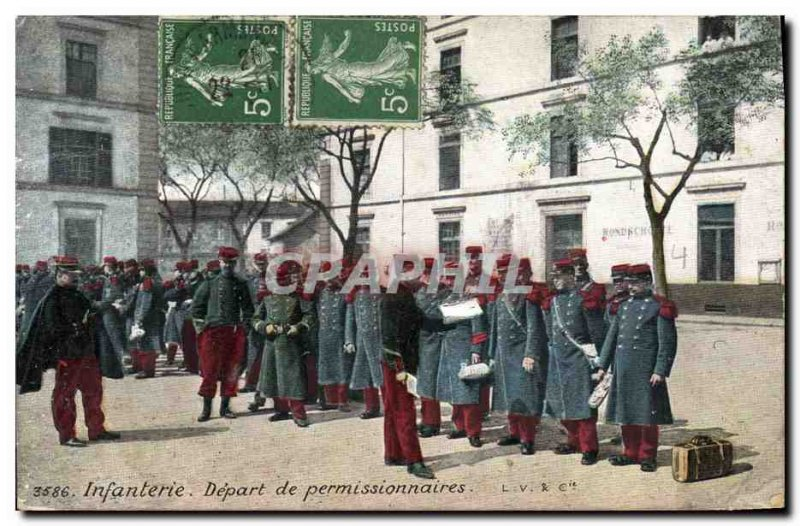 Postcard Old Army Infantry on leave of Departure