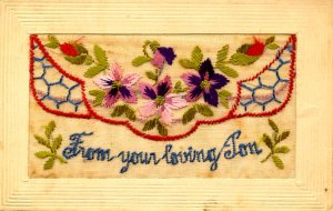 Greeting - From Your Loving Son w/flap for message (Embroidered Silk)