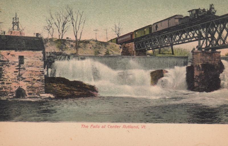 RUTLAND , Vermont , 1901-07 ; Falls at Center, Train on Railroad bridge