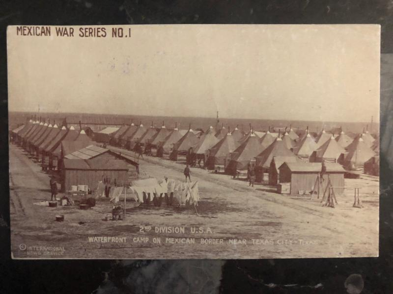 Mint Mexico Revolution RPPC Postcard US Army Texas City Border Camp 2nd Division