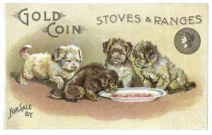 Gold Coin Stoves ,  Puppies eating from dish ,   Trade Card