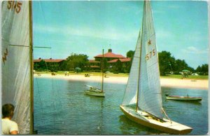 Point Clear, Alabama Postcard GRAND HOTEL Mobile Bay Boating Scene 1960 Cancel