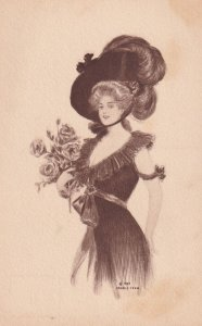 Elegant Woman wearing large feather hat, holding bouquet of Roses, 1907