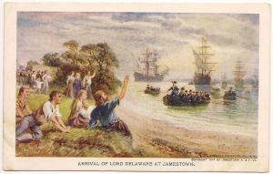 Official JAMESTOWN Post Card - Arrival of Lord Delaware