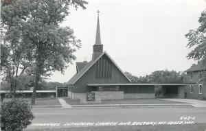 Mt Horeb Wisconsin~New? Immanuel Lutheran Church~Carport~1950s Real Photo