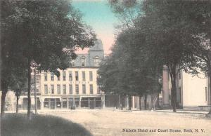 Bath New York Nichols Hotel and Court House Antique Postcard J57493