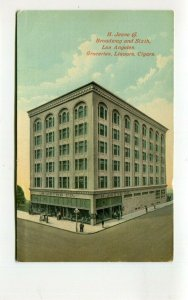Vintage Postcard Los Angeles CA H JEVNE & CO Broadway & 6th groceries liquor