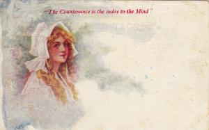The Countenance is the index to the Mind, Portrait of woman wearing bonnet,...
