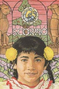 Scorpio Child By Stained Glass Window Rare Horoscope Postcard