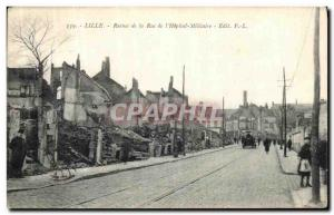 Postcard Old Lille Ruins Street of the Army Military Hospital