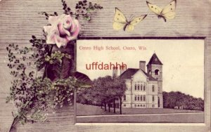 HIGH SCHOOL, OMRO, WI wood frame with rose and butterflies