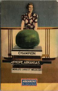 Hope Arkansas~Lady With Champion~World's Largest Melon~Watermelon~1946