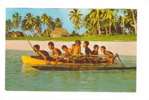 Boys canoeing in a lagoon, Fiji, 40-60s