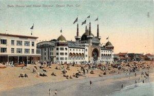Bath House & Hotel Decatur OCEAN PARK, CA Santa Monica 1909 Vintage Postcard