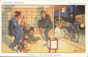japan, NAGASAKI, Caricature Japanese Restaurant (1910s)