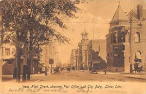 Lima Ohio West High Street Post Office Vintage Postcard JB626745