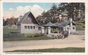 Entrance to Evergreen Cemetery - Rutland VT, Vermont - pm 1916 - WB