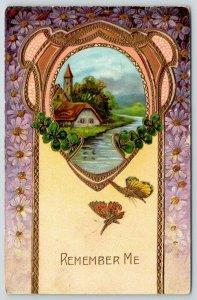 Remember Me~Cottage~Butterflies~Purple Daisies~Gold Leaf Emboss Art Nouveau~GEL