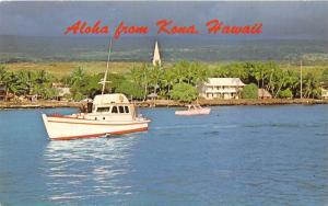Kailua Kona Hawaii~Fishing Boats on Water in Front of Village~1950s Postcard