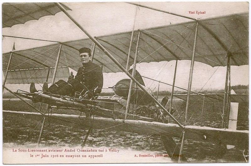 Aviator Sub Lt Andre Quennehen killed at Velizy 1916 with his biplane WW1