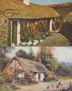 An Old Manx Cottage Isle Of Man Antique Novelty Folding Card 2x Postcard