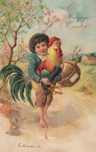 EASTER, 1900-10s; Barefoot Boy carrying crowing rooster and basket, PFB 6800
