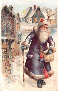Hold To Light Santa Claus 1908 minor corner wear, postal used dec 24th 1908
