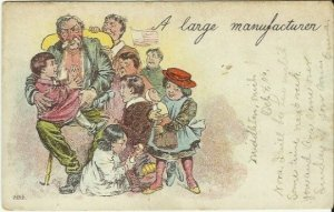 Antique Undivided Back UB Postcard Comic A Large Manufacturer 1905