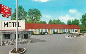 Poplar Bluff Missouri~Frontier Court Motel~Office~1950s Postcard