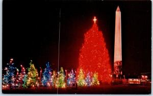 Washington DC Postcard The National Christmas Tree w/ Washington Monument