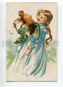 264862 EASTER Girl w/ COCK Rooster Vintage postcard