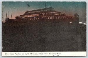 Hamline Minnesota State Fair~Live Stock Pavilion Night Lights~Hippodrome~c1910