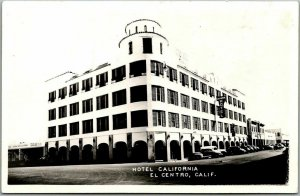 1940s El Centro, Calif. RPPC Photo Postcard HOTEL CALIFORNIA Street View