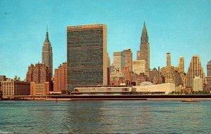 New York CIty Manhattan Skyline United Nations Empire State Building & Chrysl...