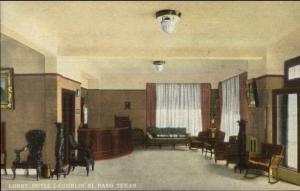 El Paso TX Lobby of Hotel Laughlin c1915 Postcard EXC COND