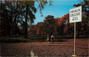 Oberlin Ohio~College Founded 1833 Sign~Students Cross Tappan Square~1950s PC